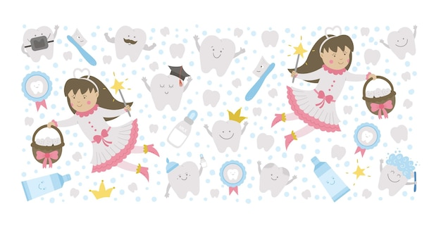 Marco horizontal de vector con lindo hada de los dientes plantilla de tarjeta con princesa de fantasía kawaii divertido cepillo de dientes sonriente dientes de pasta de dientes molar de bebé imagen de cuidado dental divertido para niños