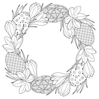 Marco con huevos de pascua de doodle blanco y negro y flores de azafrán de primavera