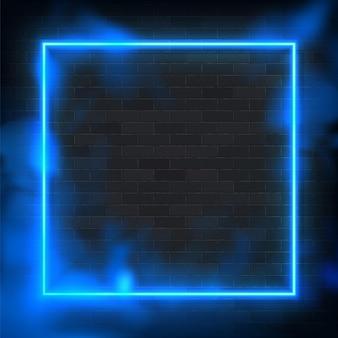 Marco de iluminación de ilustración de neón rectángulo brillante con fondo azul.