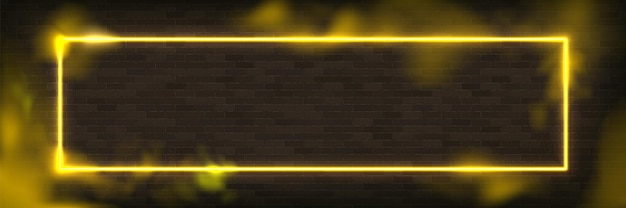 Marco de iluminación de ilustración de vector de neón rectángulo brillante con fondo amarillo.