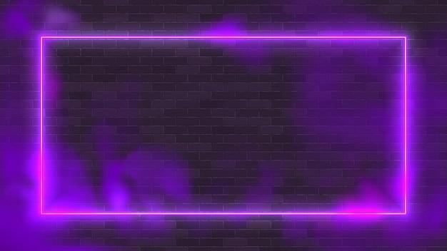 Marco de iluminación de ilustración de vector de neón rectángulo brillante con fondo púrpura.