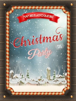 Marco de ilustración de navidad con adornos y pueblo de invierno.