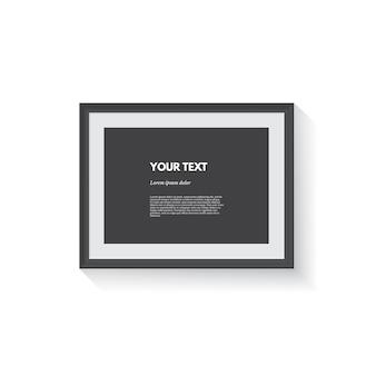 Marco de imagen horizontal negro aislado en blanco