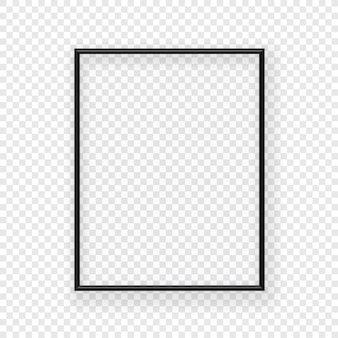 Marco de imagen negro fino realista en una pared. ilustración vectorial aislado en el fondo transparente