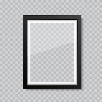 Marco de imagen o fotografía de cristal en blanco realista