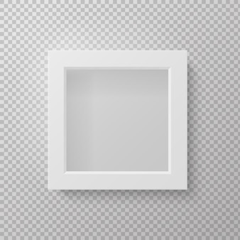 Marco de imagen realista. vista frontal de la maqueta gris aislada 3d vacía cuadrada en la pared