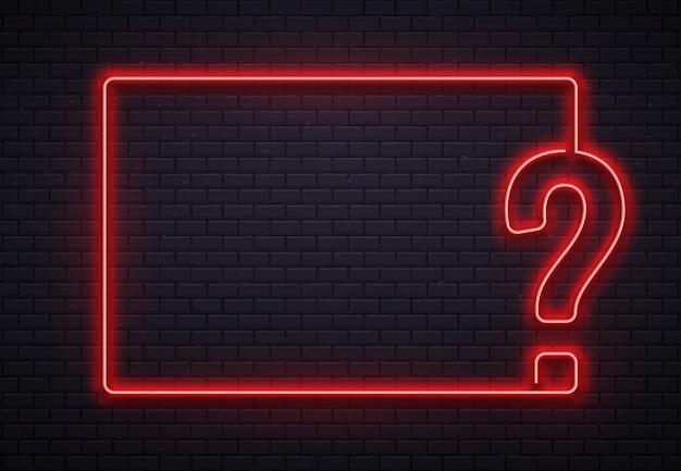 Marco de interrogación de neón. iluminación de prueba, lámpara de neón roja de punto de interrogación en la ilustración de fondo de textura de pared de ladrillos