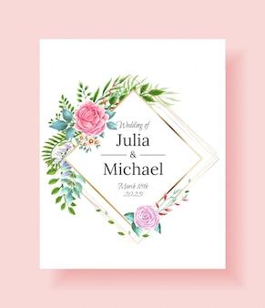 Marco de invitación de boda conjunto flores