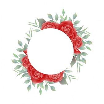 Marco de invitación de boda con decoración de acuarela rosa roja