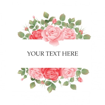 Marco de invitación de boda con rosas