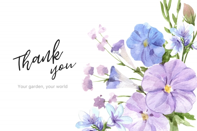 Marco de jardín de flores con linum ilustración acuarela.