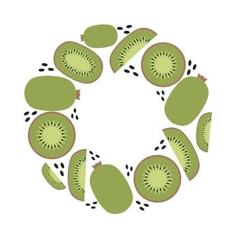 Marco de kiwi, dieta ceto y vegana, planta moderna, vector en estilo plano.