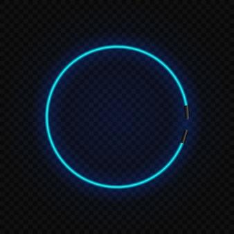 Marco de lámpara de círculo de neón brillante en transparente