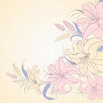 Marco de lily aislado sobre sepia.
