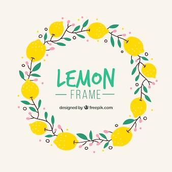 Marco de limones dibujado a mano