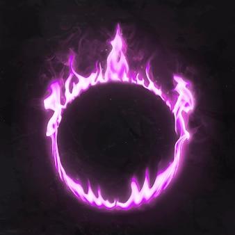 Marco de llama, forma de círculo de neón rosa, vector de fuego ardiente realista