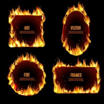 Marco de llama de fuego caliente en el fondo negro