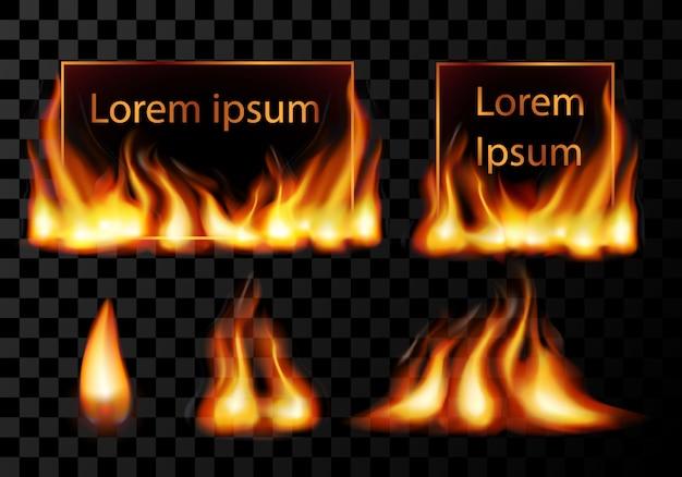 Marco de llama de fuego de luz cuadrada realista con destellos de fuegos artificiales, ilustración de plantilla