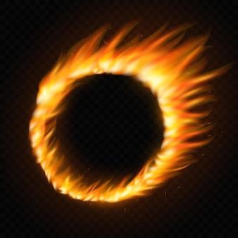 Marco de llama de fuego de luz redonda realista, ilustración de plantilla sobre fondo transparente