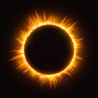 Marco de llama de fuego de luz redonda realista en transparente
