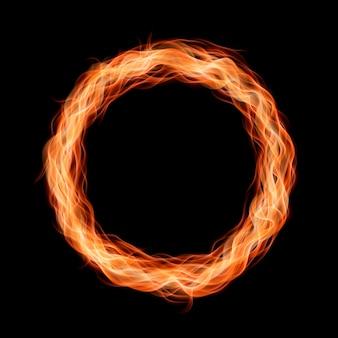 Marco de llama de fuego de luz redonda realista