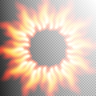 Marco de llama de fuego transparente realista.