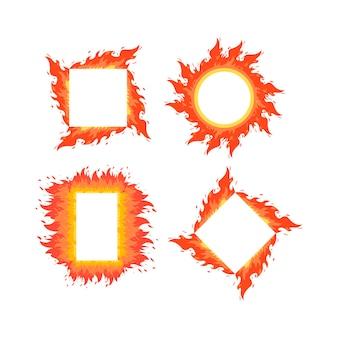 Marco de llamas de fuego de diferentes formas. estilo de dibujos animados de vector.