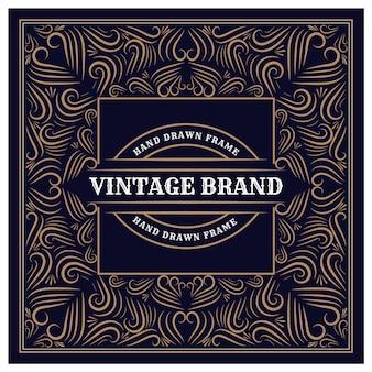 Marco de logotipo dibujado a mano heráldico de lujo vintage para etiquetas y envases