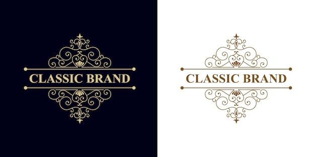 Marco de logotipo dibujado a mano heráldico de lujo vintage