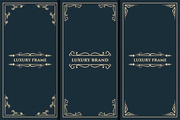 Marco de logotipo de lujo con etiqueta de embalaje dorada adecuada para el embalaje real de lujo de la caja del producto