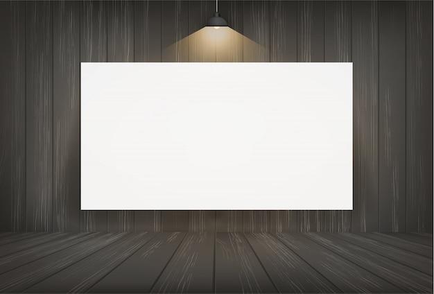 Marco de lona blanca en el fondo del espacio de la habitación oscura.
