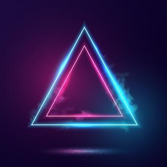 Marco de luces de neón de triángulos.