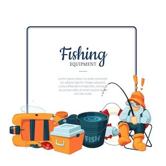 Marco con lugar para texto y con equipo de pesca de dibujos animados debajo de la ilustración
