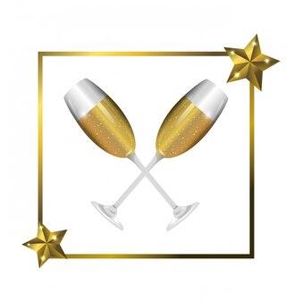 Marco de lujo y elegante con dibujos animados de copas de champán