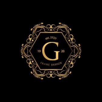Marco de lujo con logo golden color