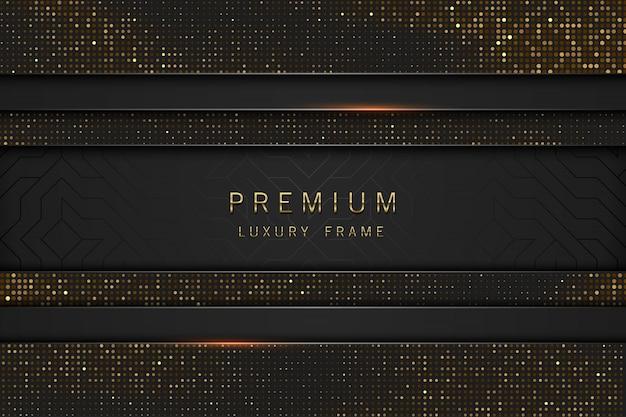 Marco de lujo de titular abstracto negro y oro. lentejuelas brillantes sobre fondo negro. etiqueta de línea horizontal