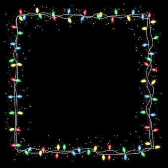 Marco de luz navideño realista