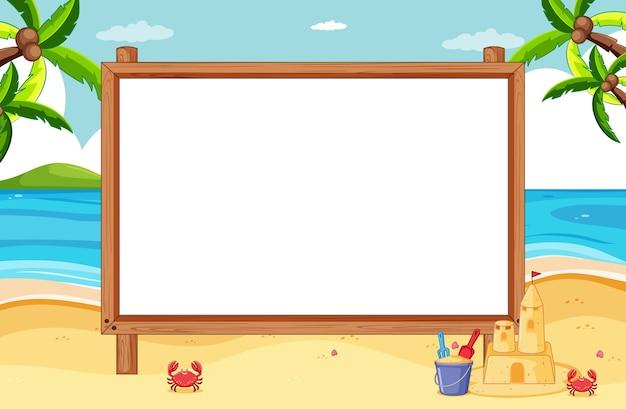 Marco de madera en blanco en la escena de la playa