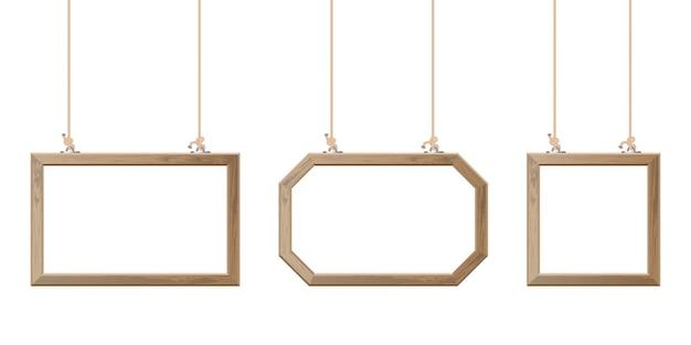 Marco de madera colgando con cuerdas ilustración