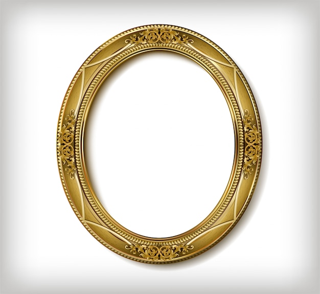 Marco de madera ovalado de marco de fotos dorado con línea de esquina floral para imagen