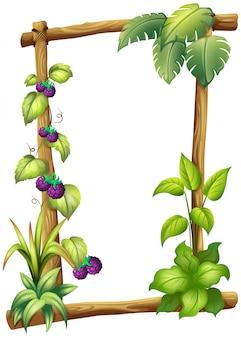 Un marco de madera con plantas de vid.