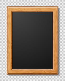 Marco de madera realista para fotos o imágenes con sombra.