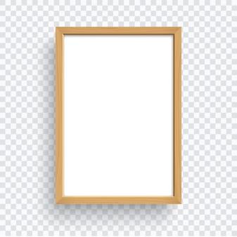 Marco de madera rectangular aislado sobre fondo transparente.