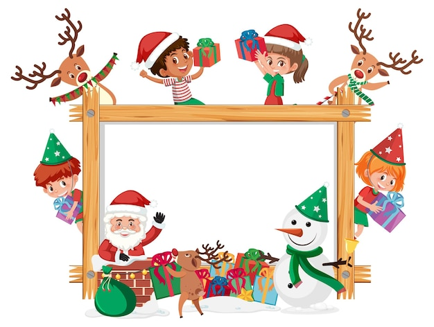 Marco de madera vacío con niños en tema navideño