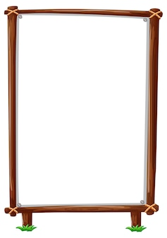 Marco de madera vertical aislado en blanco