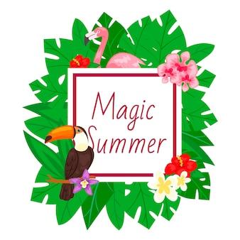 Marco mágico de verano con hojas