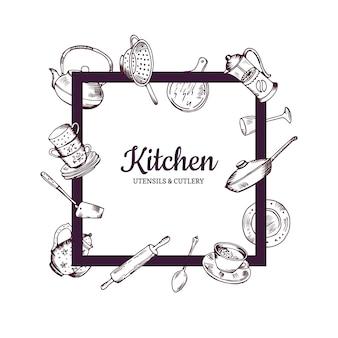 Marco con mano dibujado utensilios de cocina volando a su alrededor con lugar para el texto en el centro de la ilustración
