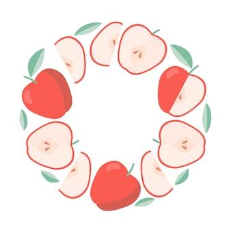 Marco de manzanas rojas, frutas de verano.
