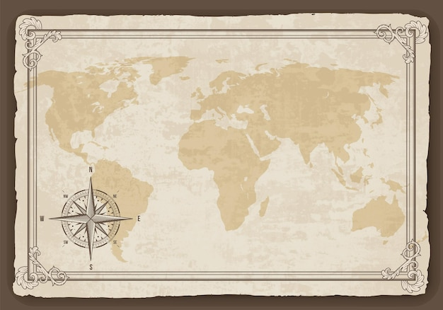 Marco de mapa antiguo con brújula náutica retro en textura de papel viejo. dibujado a mano antiguo náutico antiguo.