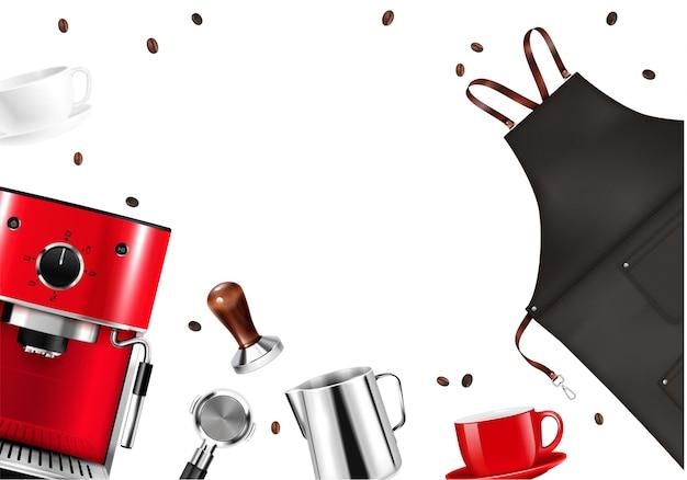 Marco con máquina de delantal de barista realista y herramientas para preparar café sobre fondo blanco.